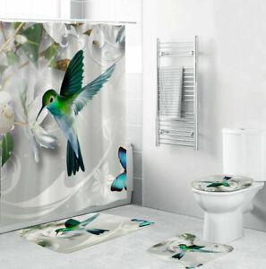 Bird Bathroom Rugs Set Shower Curtain Non-Slip Toilet Lid Cover Bath Mat Gifts