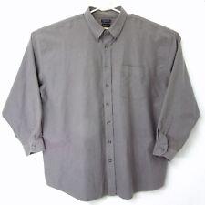 Van Heusen Mens 2XLT Oxford Gray Long Sleeve Shirt Wrinkle Free Stain Shield $65