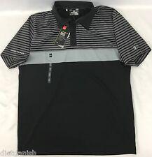Under Armour MEN'S Golf Polo Loose HeatGear ColdBlack Black Grey Stripe Size M