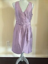 H&M Lavender Purple Sleeveless Faux Wrap Belted Dress Lined Size 10 F34