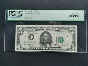 1963A $5 Low Serial Number# C00000003B  FRN PCGS GEM NEW 65PPQ Fr. 1968-C