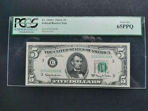 1963A $5 Low Serial Number# C00000003B  FRN PCGS GEM NEW 65PPQ Fr. 1968-C