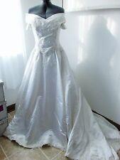 FAIRYTALE PRINCESS OFF-SHOULDER WHITE WEDDING GOWN DRESS PEARLS SEQUINS - SZ 10