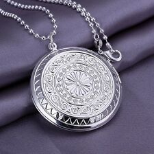 """925 Sterling Silver Plated 1.75"""" Round Locket Pendant Necklace Photo & 18"""" Chain"""