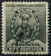 Peru 1896-1900 SG#343, 10c Black, Pizarro Used #E1278