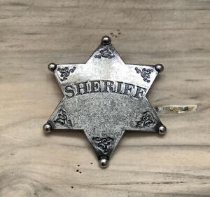 Wild West Silver Sheriff Metal Badge / Shield