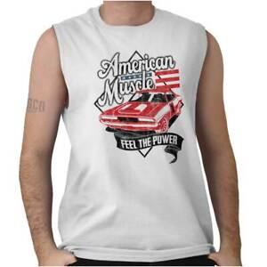 American Muscle Power Car USA Pride Gift Mens Sleeveless Crewneck T Shirt