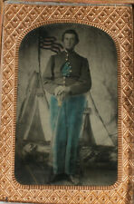 CIVIL WAR ERA TINTYPE SOLDIER WITH SABER, TINTED. TAX STAMPS.