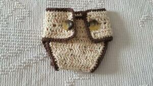"""CROCHETED INFANT DIAPER COVER,BROWN PUPPY DESIGN,12""""WAIST,NATURAL,TAIL,NEWBORN"""