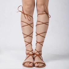 Women Sandals Fashion Gladiator Sandal Sexy Cutout Knee High Sandalias Flip Flop
