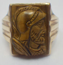 Vintage 10K Yellow Gold Men's Hand Carved Tiger's Eye Roman Ring Size 9.75
