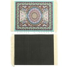 11''x7'' Mouse Pad Blue Persian Style Mini Woven Rug Carpet Mousemat With Fringe