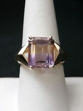 Exquisite 10k Yellow Gold Large Solitaire Ametrine Ring. Make Offer! #2343