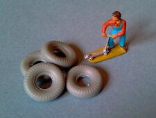 DINKY TOYS : Lot de 4 pneus 20/8 gris bande ronde pour Trailer Remorque Réf 551