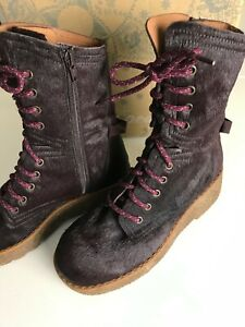 FREE PEOPLE LEATHER STOMPER BOOTS AUBERGINE FAUX PONY FUR (UK 4/ EUR 37)