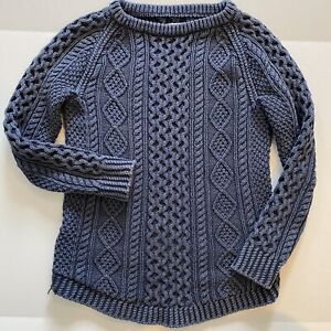 LL Bean Signature 100% Cotton Cable Fisherman Knit Tunic Sweater Denim Blue