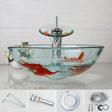 Bath Printing Glass Vessel Handmade Sink Brass Waterfall Mixer Faucet Combo set