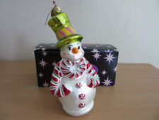 Christopher Radko Snowman with Candy Cane Scarf & Hat w/ Box
