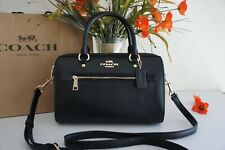 NWT Coach F79946 Rowan Satchel Crossgrain Leather handbag Black $328