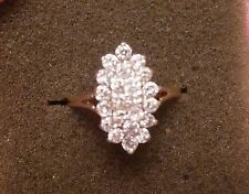Diamond Cluster 14k Ring  1.25 Carats 14KP - Plumb Yellow Gold   Size 6 ((52))