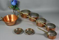 Antique French Miniature Copper Pan Jam Pot Cooking Set Salesman Sample 8 Pc