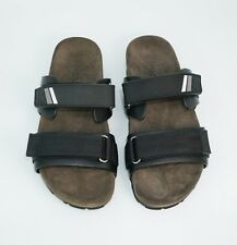 Prada Men's Double-Strap Leather and Suede Slides, Black, MSRP $530