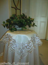 """GRAND ESTATE Rose Lace Doily 33"""" Sq Table Topper Tablecloth"""