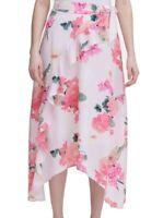 Calvin Klein Women's Skirt Petal Pink Size 12 Maxi Floral Ruffle Front $99 #495