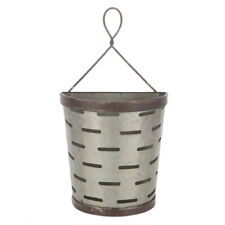 Galvanized Metal Olive Bucket Wall Decor