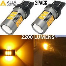 Alla Lighting 7443 54-LED Turn Signal DRL Side Marker Light Bulbs,Amber Yellow