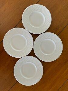 """Set of 4 Oneida Wicker White 6.25"""" Bread Plates Westerly Basket Weave"""