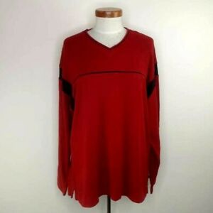 Colorado Mens Cotton Knit Jumper Size M Red With Blue Accents