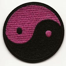 Pink & Black Ying Yang Symbol Embroidered Patch Iron-on Good Luck Magic Charm