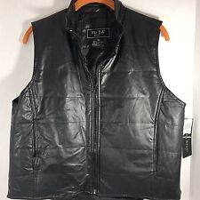 FU DA Sport Vest Faux Leather Size Medium Zip down the front Side pockets NWT