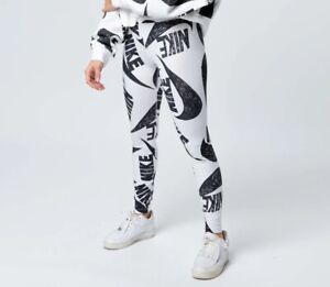 Nike Womens All Over Logo Print Leggings CJ2059-010 White & Black-Size XL