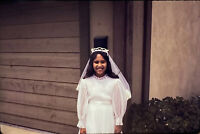 Vintage Photo Slide 1977 Girl First Communion Smiling Posed