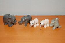 Lot of 5 Lego Duplo Zoo Animals Elephants Polar Bear Cubs Seal