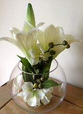 Artificial Faux Silk Arrangement Luxury Orchid And Lily In A Large Glass Bowl