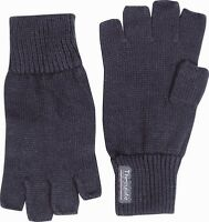 MENS THERMAL THINSULATE KNITTED FINGERLESS GLOVES WINTER WARM WOOLLY MITTS