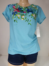 Notations Womens Blue Floral Scoop Neck Short Sleeve Shirt Floral Print Large