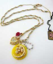 Auth Juicy Couture Four Leaf clover Pave Heart Charm Long Necklace