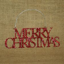 Merry Christmas Red Glitter Metal Word Ornament