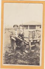 Real Photo Postcard RPPC - Man with Rifle and Rustic Furniture - Folk Art
