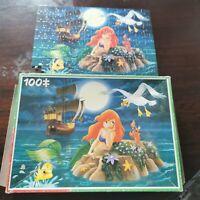 Walt Disney Vintage Jigsaw Kids 100 Piece. The Little Mermaid. ONE PIECE MISSING
