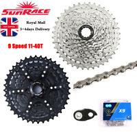 SunRace MTB Bike Cassette&Chain 9 Speed 11-40T 9S Freewheel fit Shimano SRAM