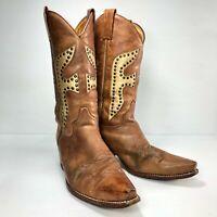 Frye Daisy Duke 77786 Brown Tan Leather Stud Point Pull Women Cowboy Boots Sz 8M