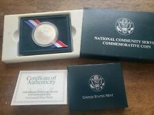 1996 S US Mint National Community Service Proof Silver Dollar Coin w/ BOX & COA