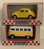 Kinsmart Yellow VW Camper And Beetle  Pull Back Toy Cars  1/64 Scale New
