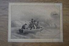 Lithographie de Charles Motte d'après Grenier scène de chasse dans une barque