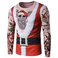 Mens Long Sleeve Santa Claus Sweater Casual Christmas XMAS T-Shirt Top Blouse